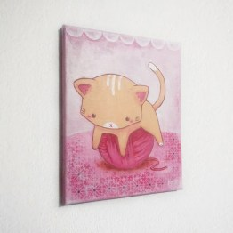 KItty Playing with Yarn Canvas Painting / Nursery Wall Art / Art Décor / Kawaii Art / 8x10 Canvas