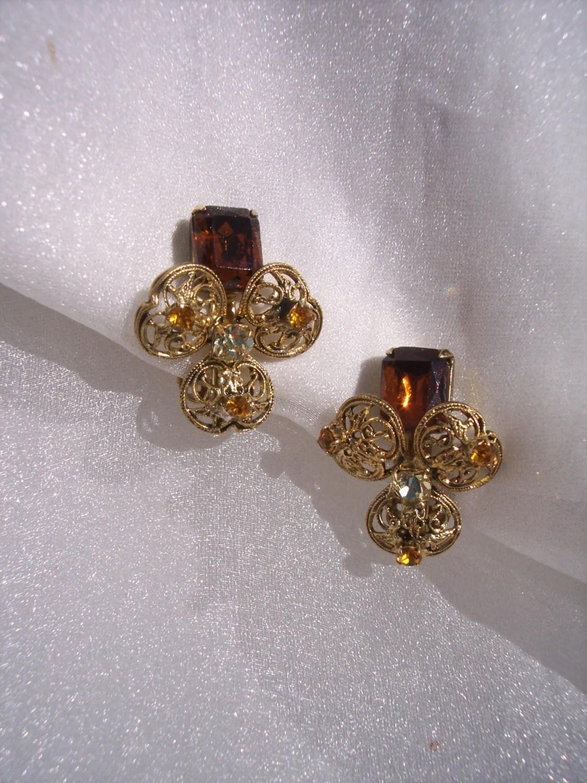 Vintage emerald cut earrings high fashion cz filigree for High end fashion jewelry