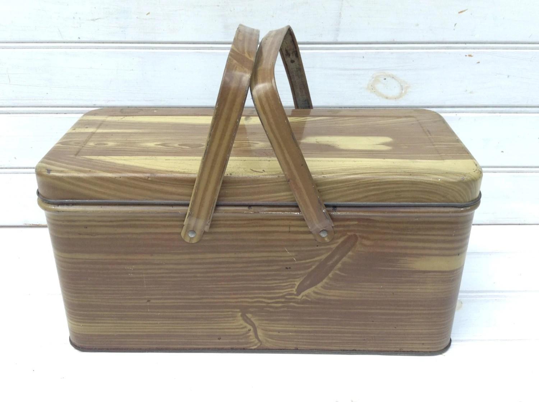 Wood Grain Storage : Small vintage metal tin faux wood grain storage
