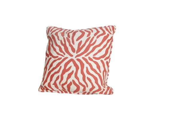 Decorative Pillow Cover –  Orange zebra  pillow cover - 20 x 20 - Hidden Zipper Closure Cushion Cover- Toss Pillows - Pillow Case