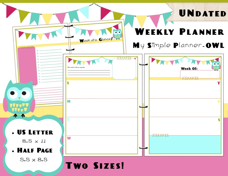 Printable Weekly Calendar Planner Refills Us Letter