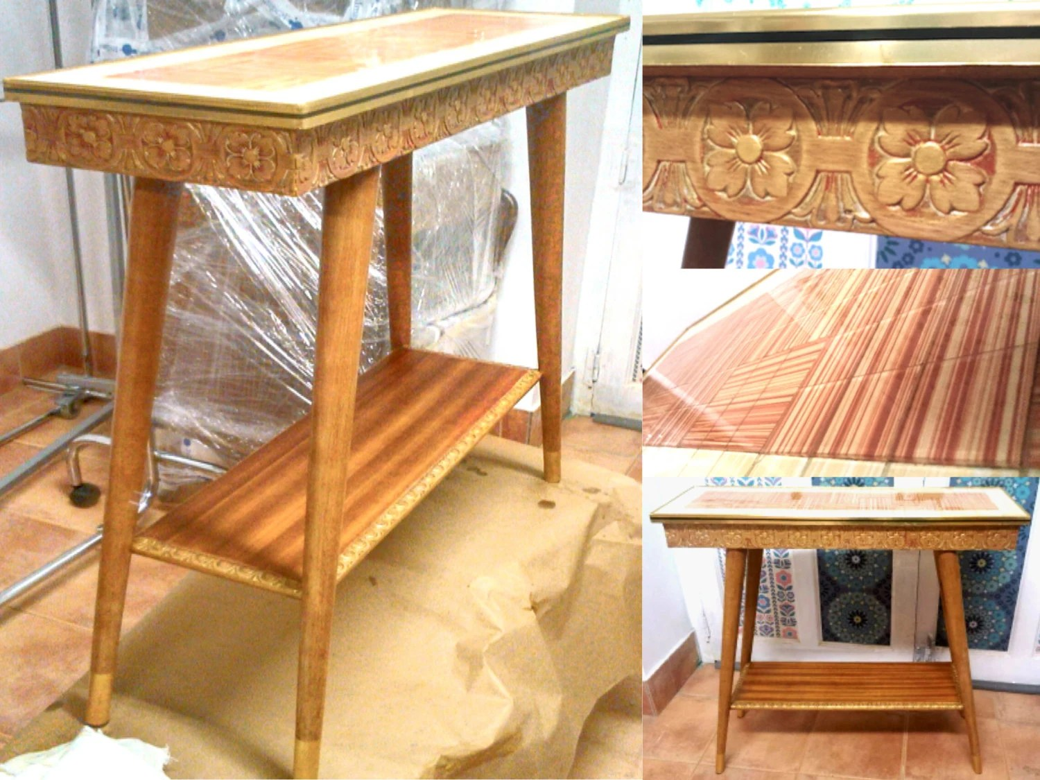 Console or side table 50s to 60s restored mid century - Table haute console ...