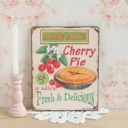 Dollhouse Miniature, Cherry Pie Sign, Food Plaque, Dessert Picture, American Diner, Shabby Cottage Chic, 1:12th Scale