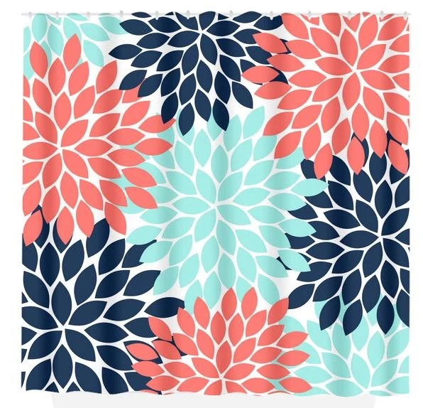 Items Similar To Navy Coral Aqua Floral SHOWER CURTAIN Flowers Custom MONOGRAM Personalized