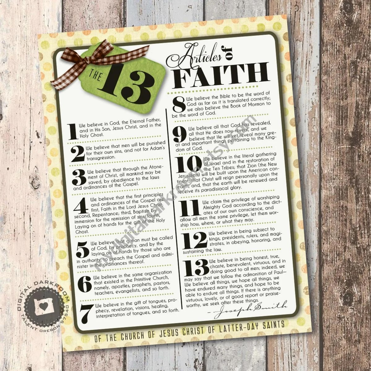 Lds Articles Of Faith Poster Printable Up To By