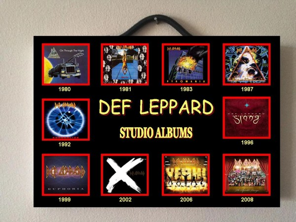 DEF LEPPARD BAND double sided wooden poster