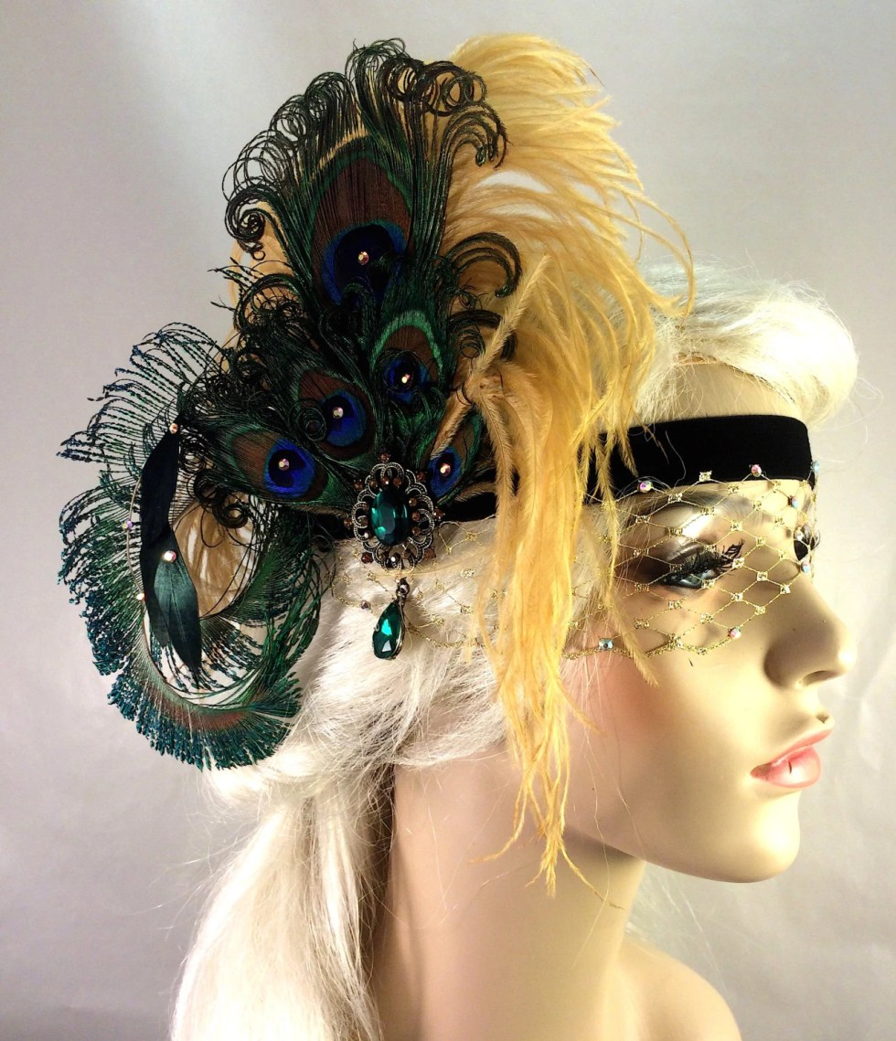 Art Deco Flapper Headband, The Great Gatsby, 1920s Headpiece, 1920s Flapper, Gold, Green and Black, Swarovski Crystal Mask, Speakeasy
