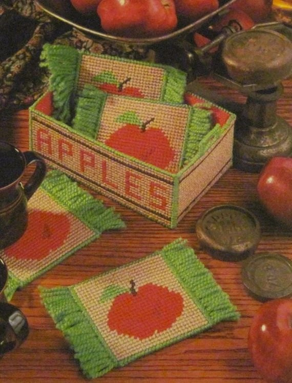 Plastic Canvas Pattern Apple Mug Rugs And Crate