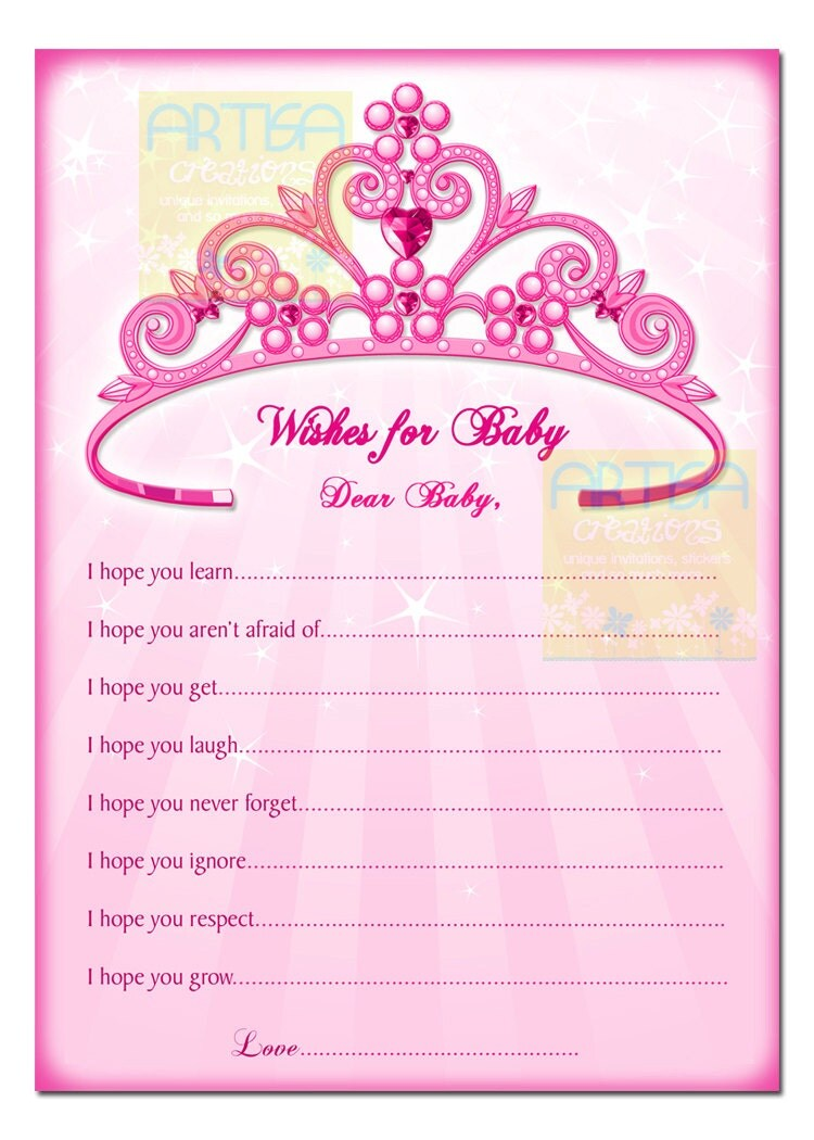Princess Wishes For Baby Card Pink Princess Baby Shower