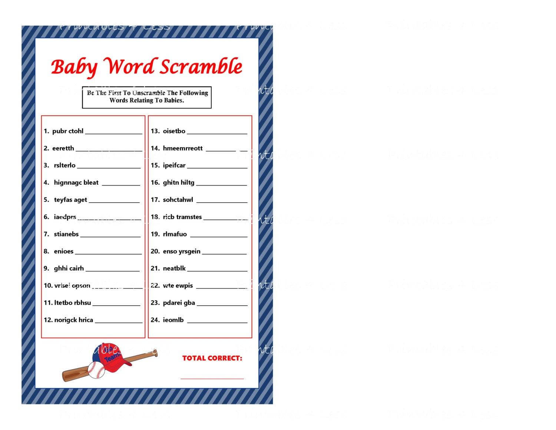 Baseball Word Scramble Printable Word Scramble Printable