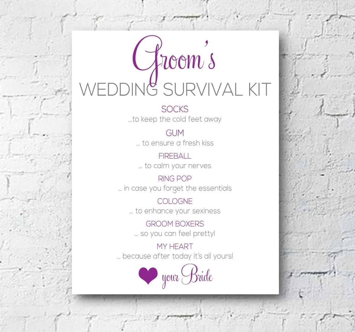 Wedding Groom Survival Kit Sign Modern Glam Digital
