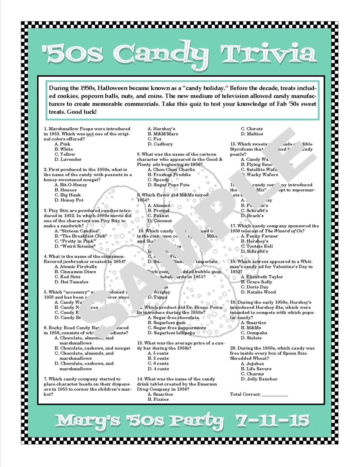S Candy Trivia Printable Gamepersonalize For Birthdays
