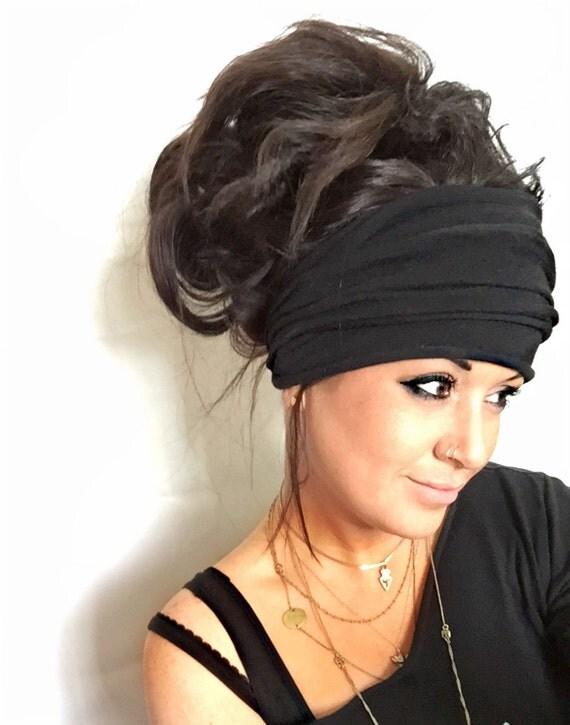 Black Scrunch Headband Extra Wide Headband Jersey By