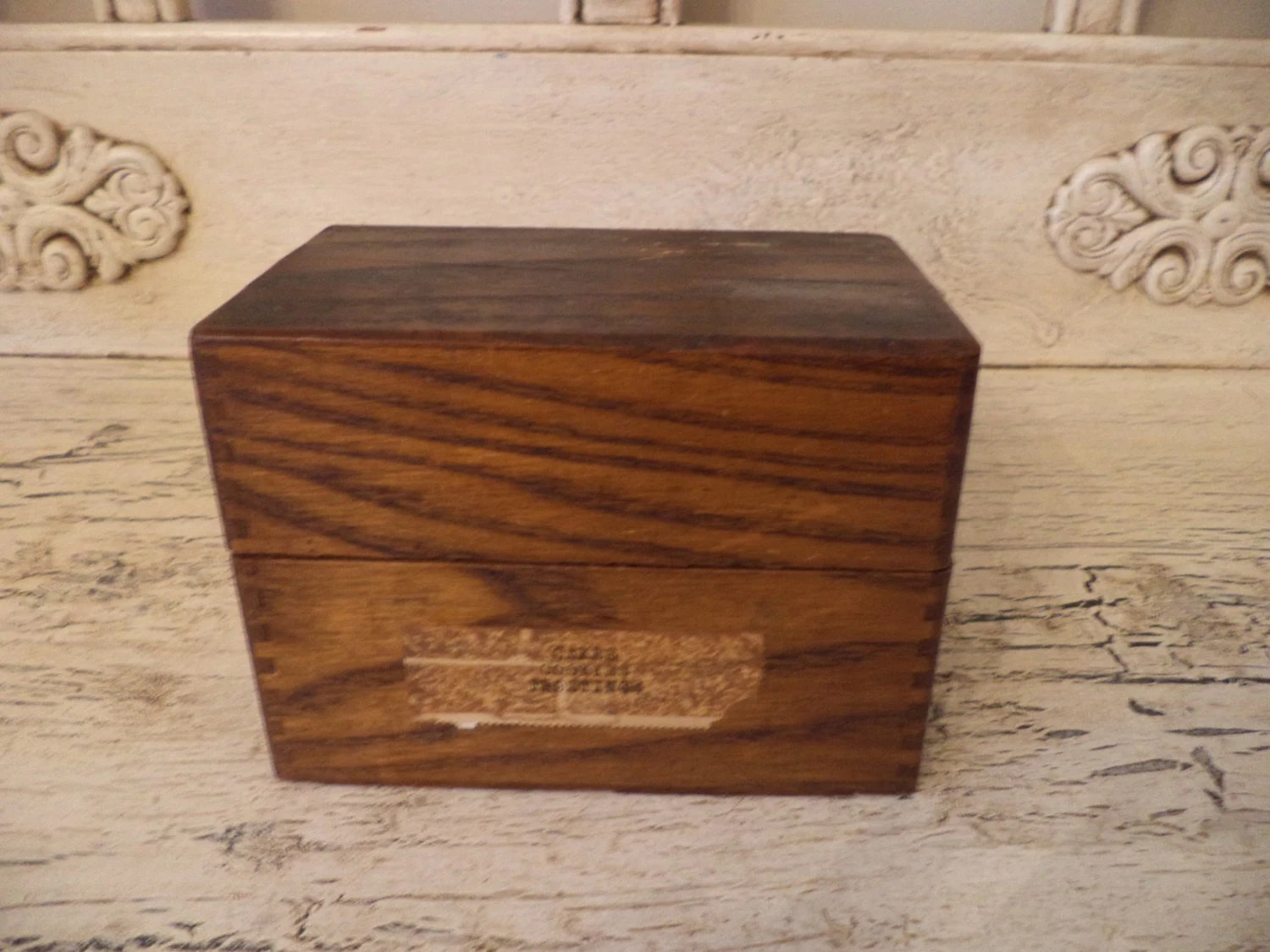 Rustic recipe box small hinged wooden box index card - Small rustic wooden boxes ...