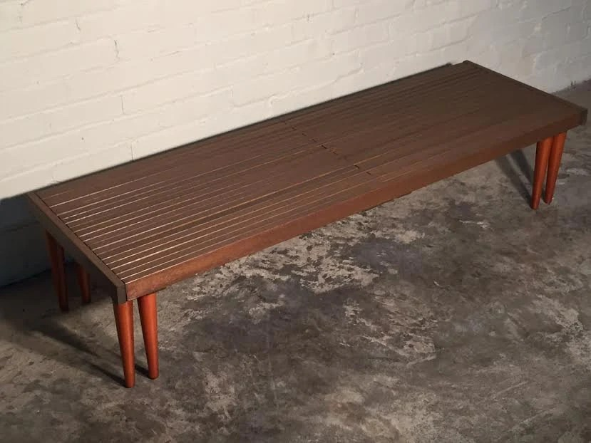 Mid Century Modern Slat Bench Expandable Coffee Table