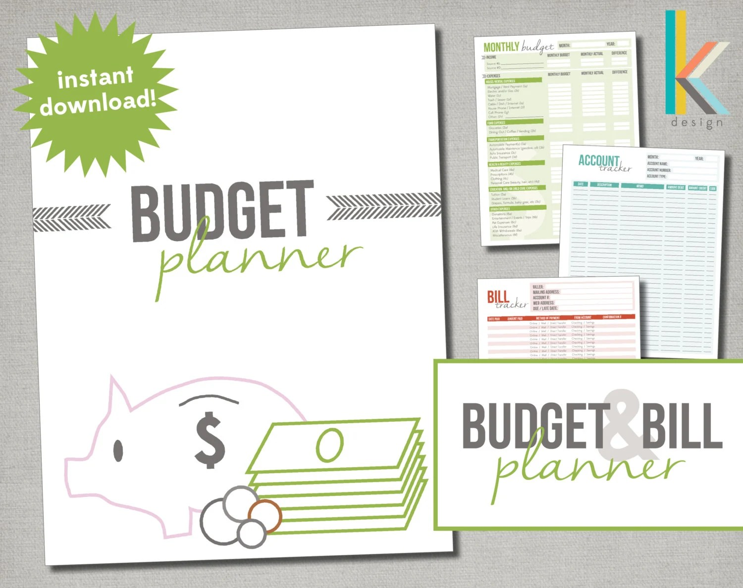 Printable Editable Budget Planner With Worksheets And Form