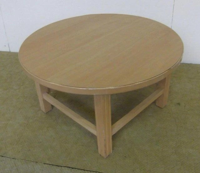 Round Oak Coffee Table With Square Legs Feet Haute Juice
