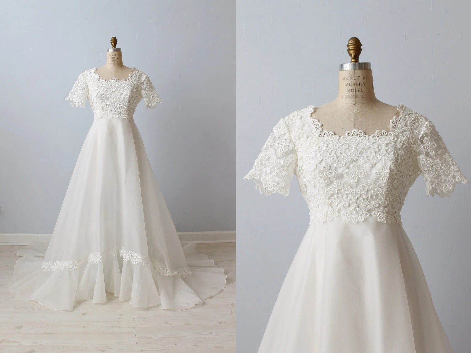 1970s Wedding Dresses / Vintage 70s Wedding Gown / Boho / Lace