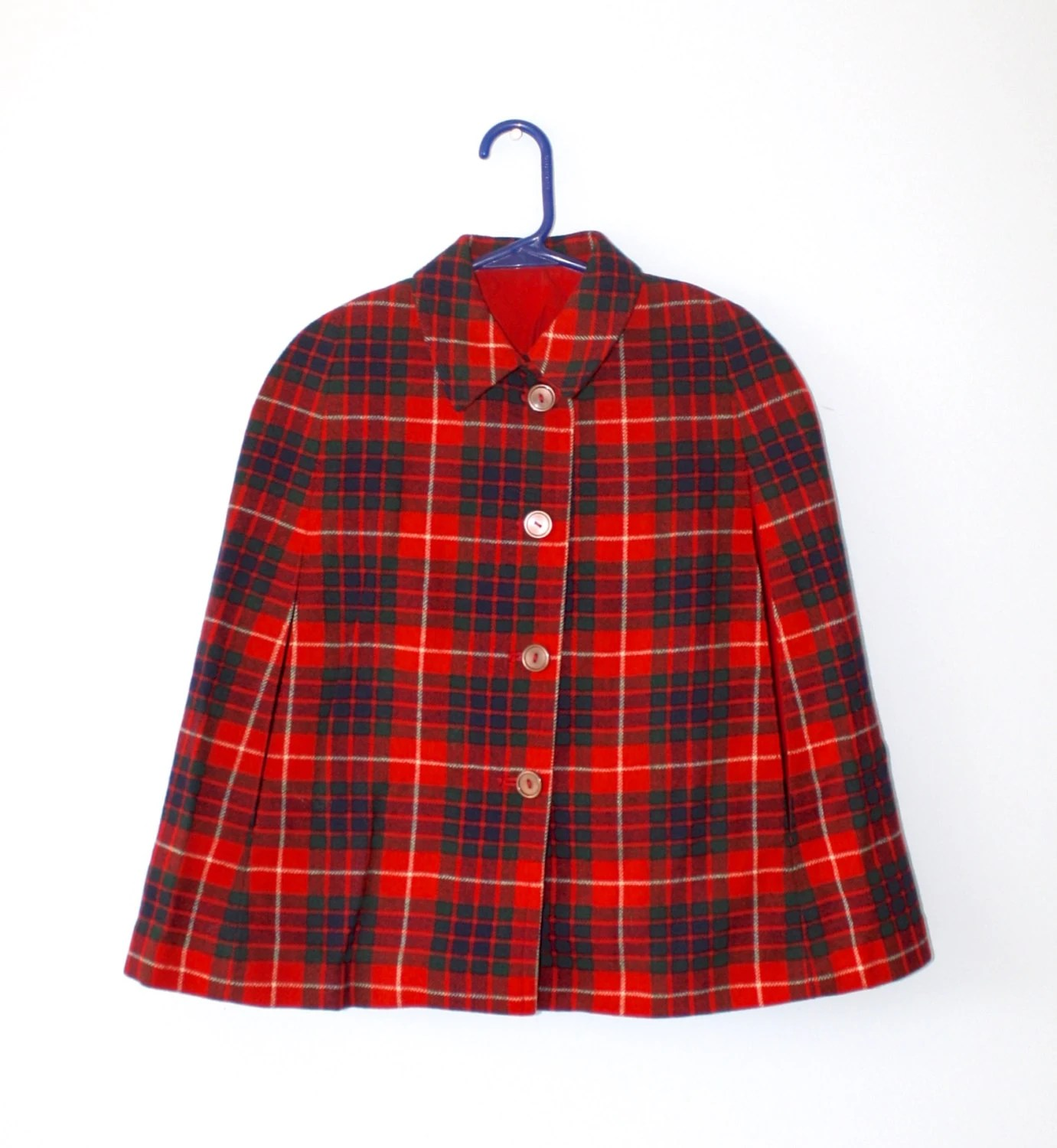 Vintage Girls Red Plaid Cape 1950s 60s Wool Plaid Reversible