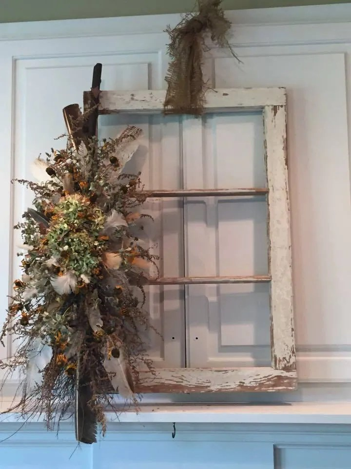 Distressed White Decor Window Wall