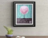Pink Lollipop Tree Signed Art Print of Signature Original By Rafi Perez