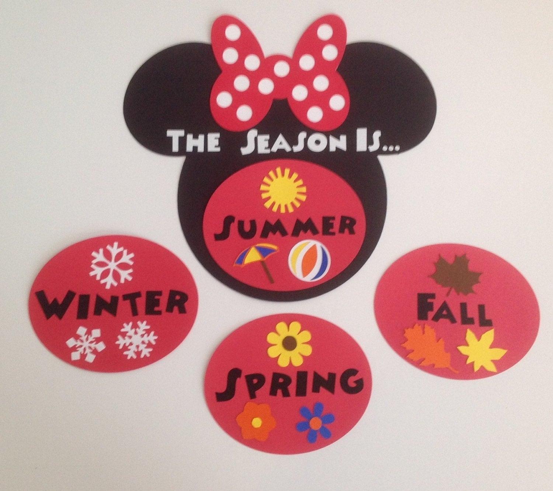 Kindergarten Preschool Disney Seasons Chart Cards Mickey And