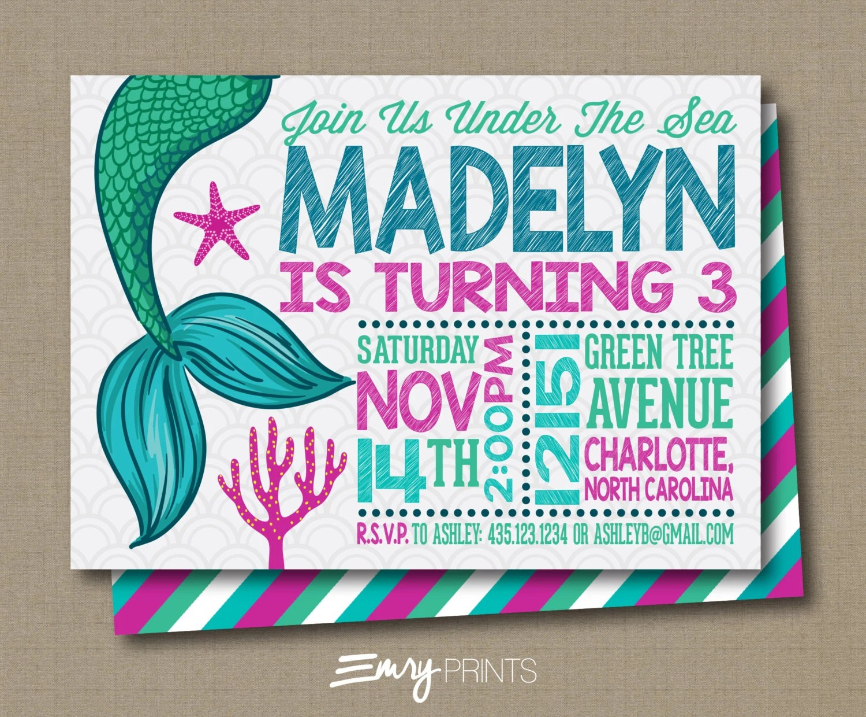 Birthday Invitations Mermaid