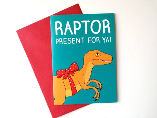 Dinosaur Birthday Card, Raptor Birthday card, funny dino birthday card, Jurassic Park card, Velociraptor card, funny boyfriend birthday card