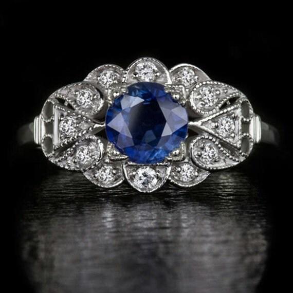 Natural Blue Sapphire Floral Cocktail Ring Art Deco Vintage