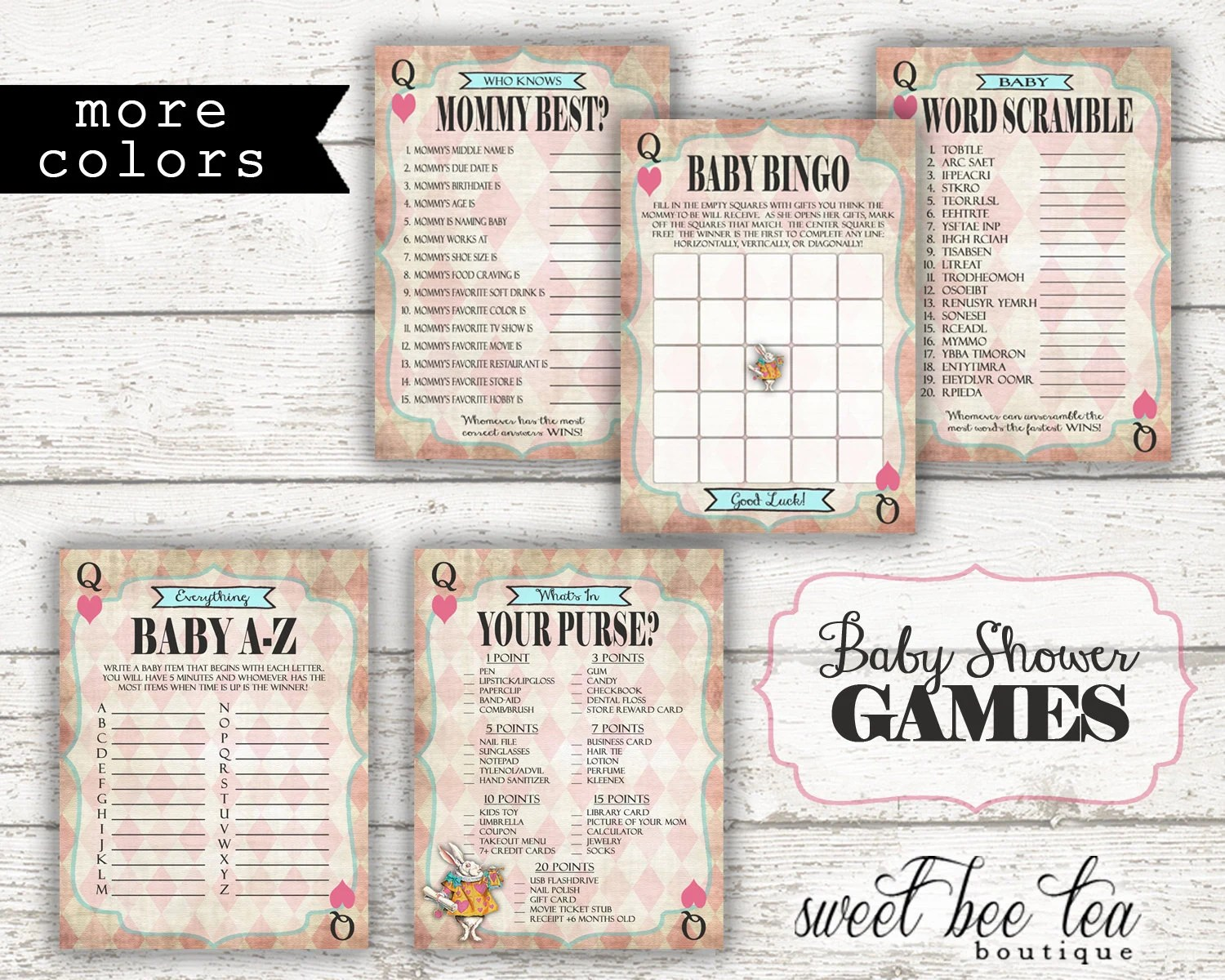 Alice In Wonderland Printable Baby Shower By Sweetbeeteaboutique