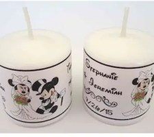 Disney Mickey Minnie Wedding Favors Votive Candle Labels