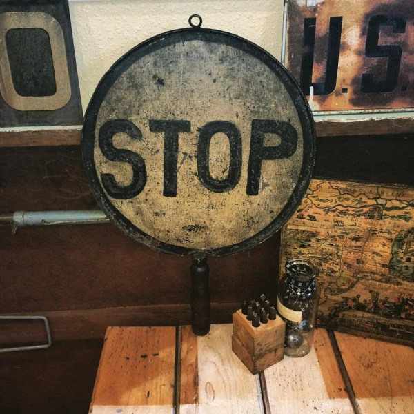 Vintage Hand Held Stop Sign