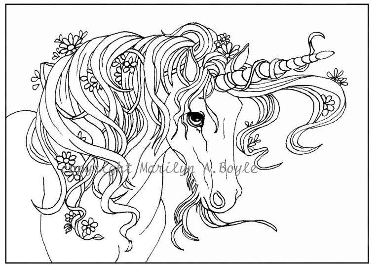 ADULT COLORING Page digital download Unicorn flowers   free printable coloring pages for adults unicorns