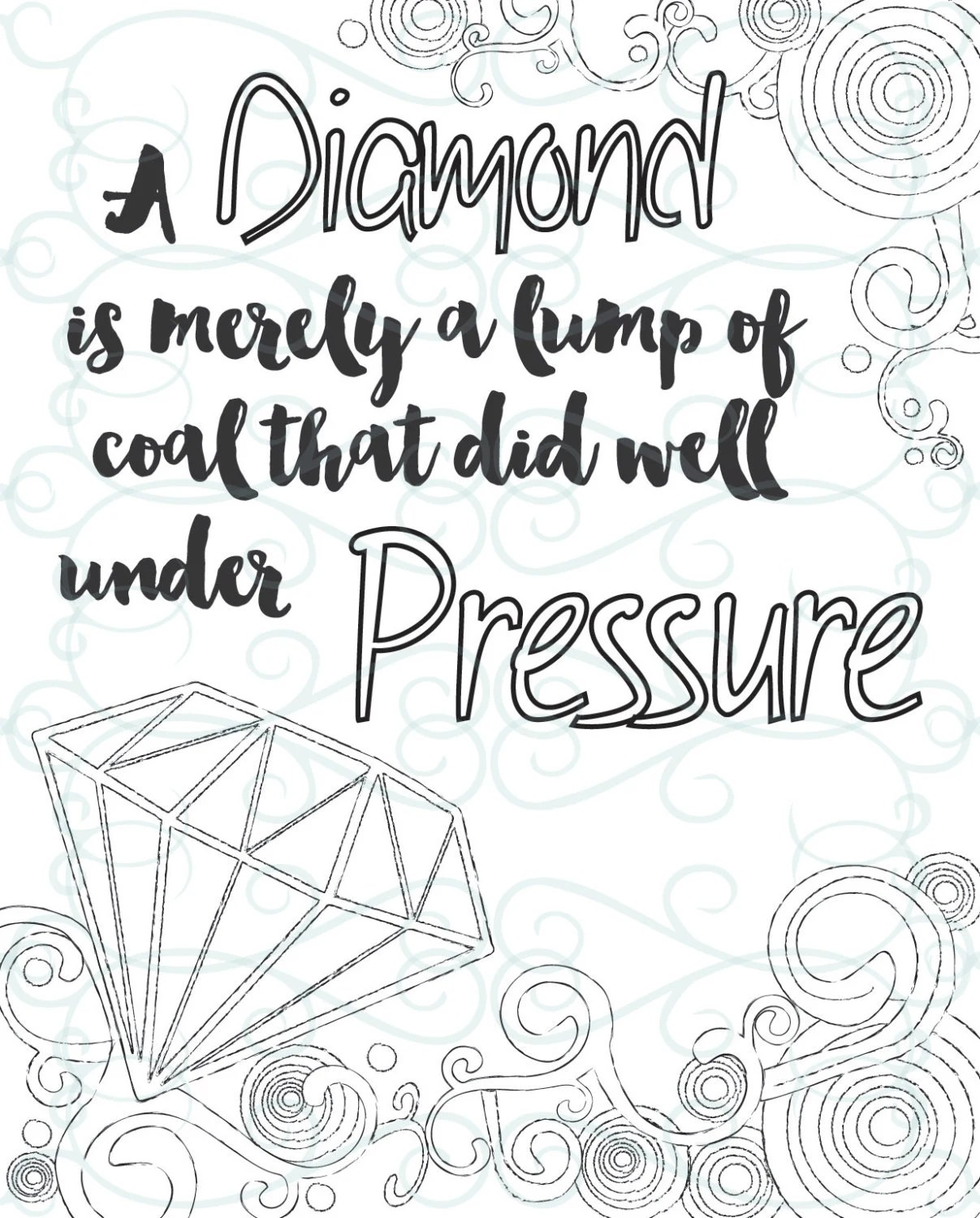 Adult Inspirational Coloring Page printable 15-Under Pressure | free printable inspirational coloring pages for adults