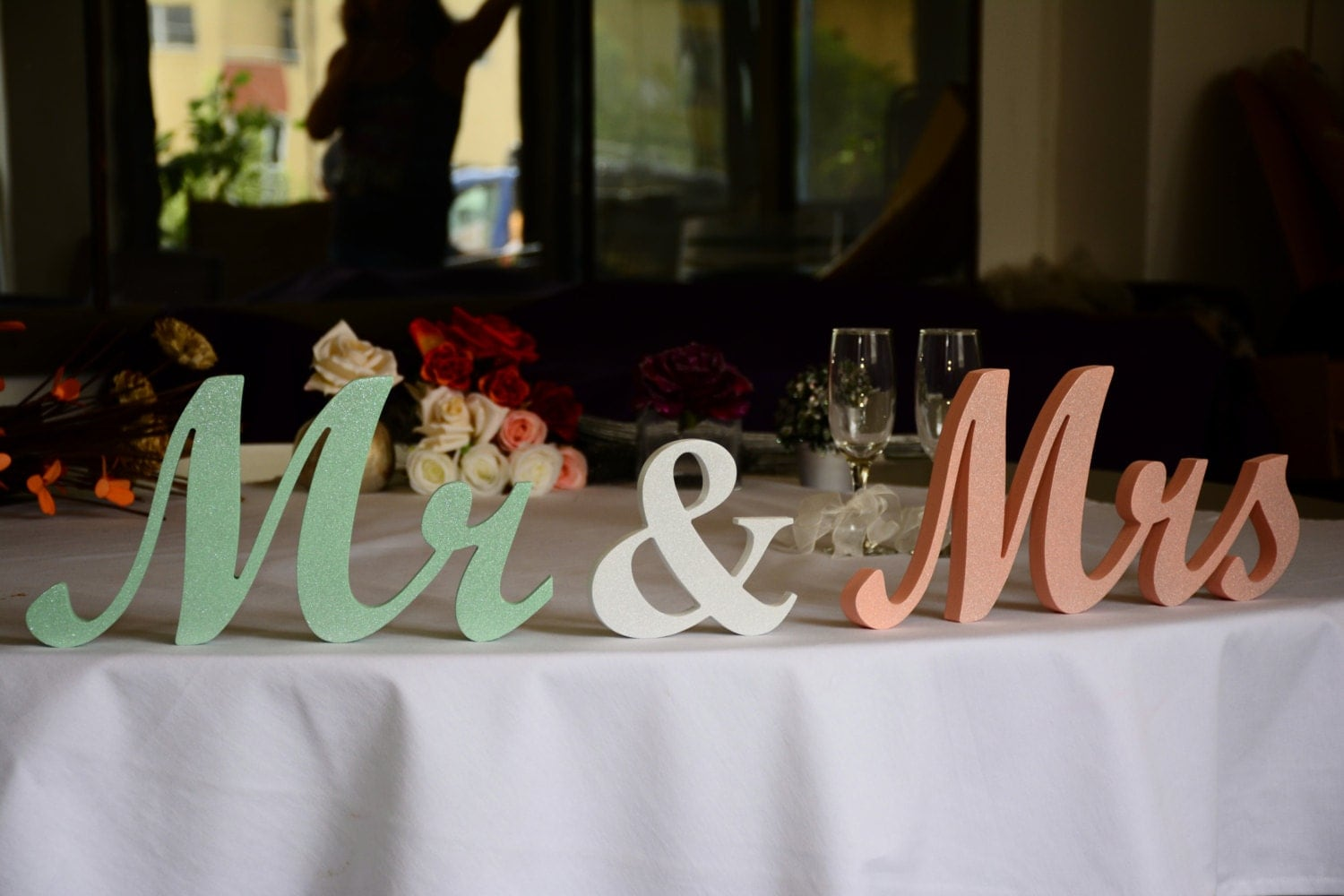 Mint And Peach Mr. & Mrs. Letters Glitter Wedding Table