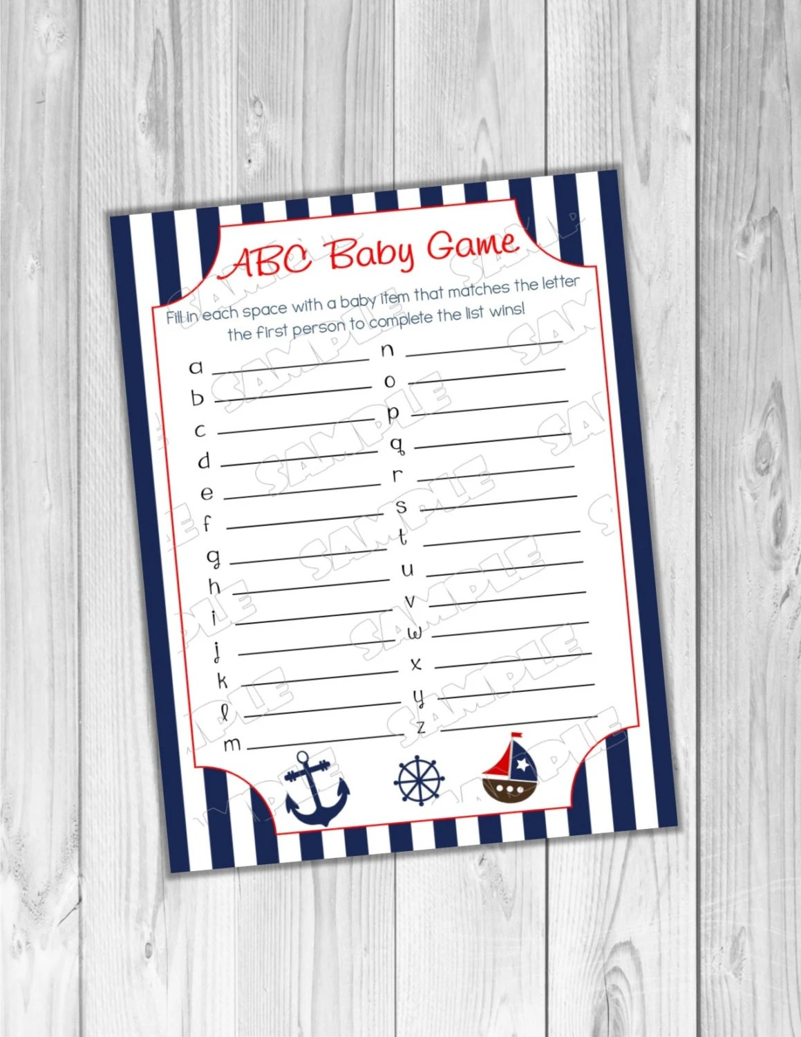 Nautical Anchor Baby Shower Games Abc Baby Game Printable