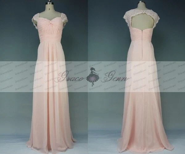Blush Pink Bridesmaid DressLong Mermaid Lace Open Back
