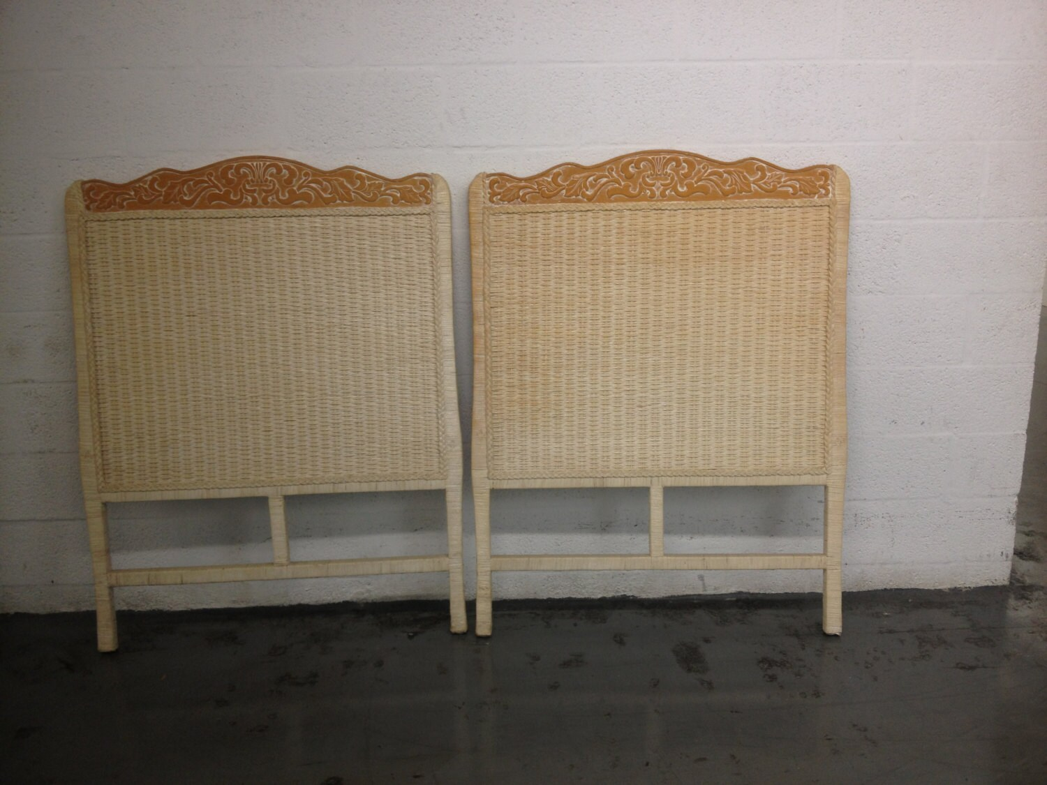 Vintage Pair Headboard Wicker Carving Wood White Distress Or Shabby Chic Color Cottage Chic