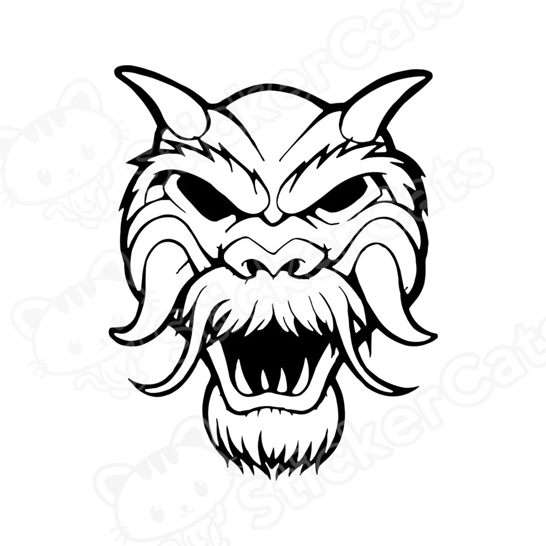 Oriental Chinese Dragon Mask Vinyl Decal Cut By