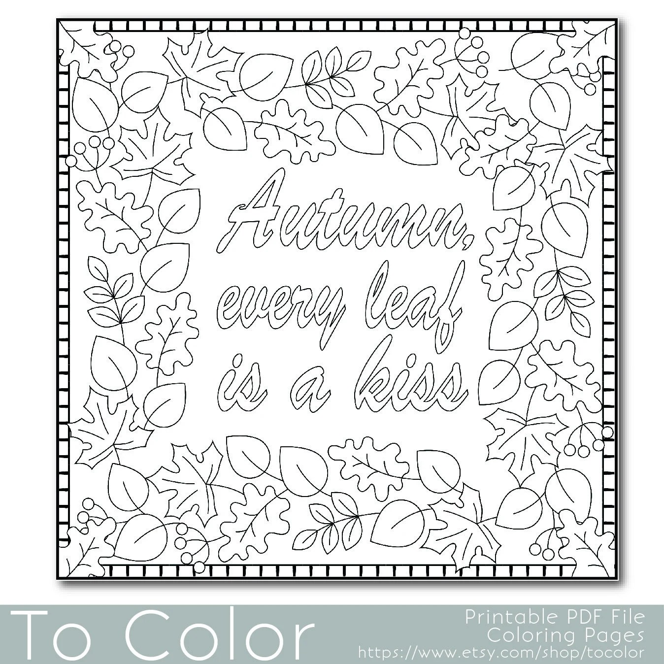 Autumn Leaves Coloring Page For Adults By Tocolor