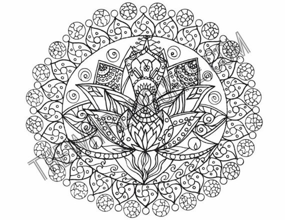 hand drawn adult coloring page print a lotus