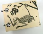 Recycled Notepad - Small Note Book - Refillable Notepad - Monkey in a Hat Hanging From a Tree - Upcycled Children's Book