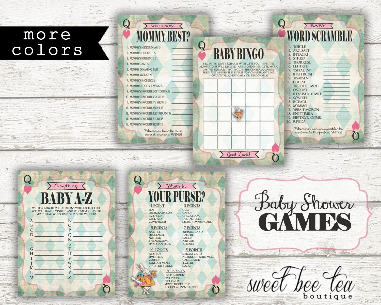 Alice In Wonderland Printable Baby Shower Games Bingo Word