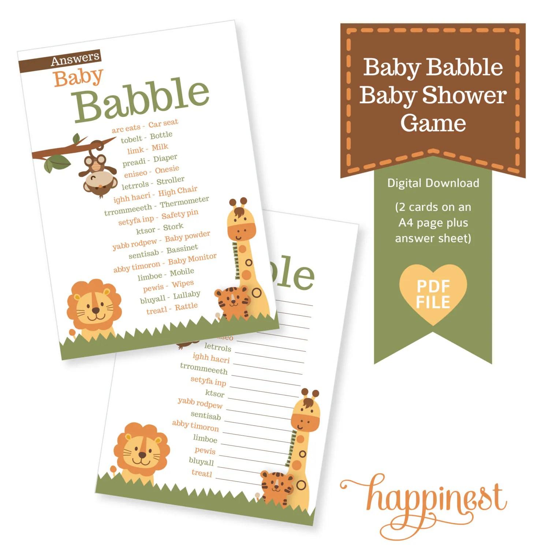 Baby Babble Baby Shower Game Jungle Safari Inspired Theme