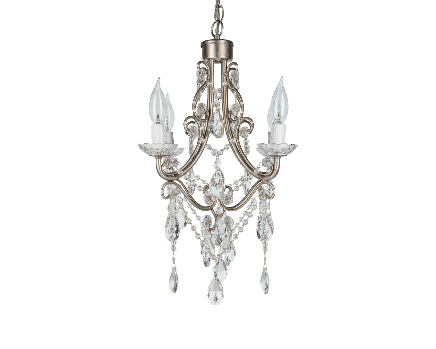 Silver Mini Crystal Chandelier 4 Lights By Platinumhomedesigns