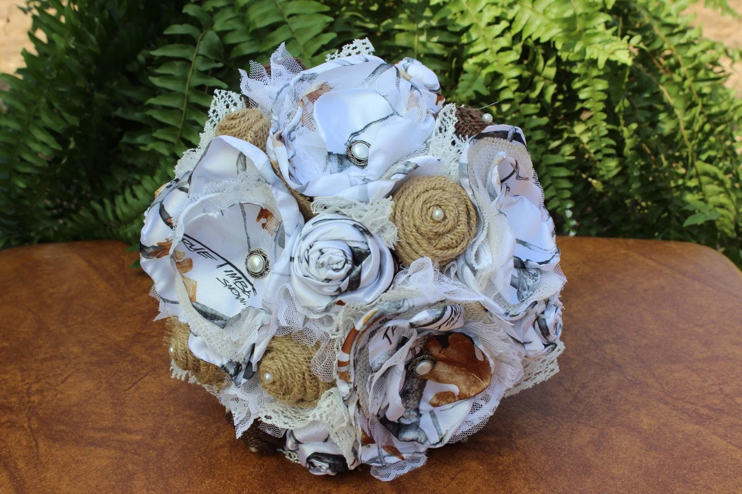 True Timber White Snowfall Camo Bridal Bouquet With Rustic