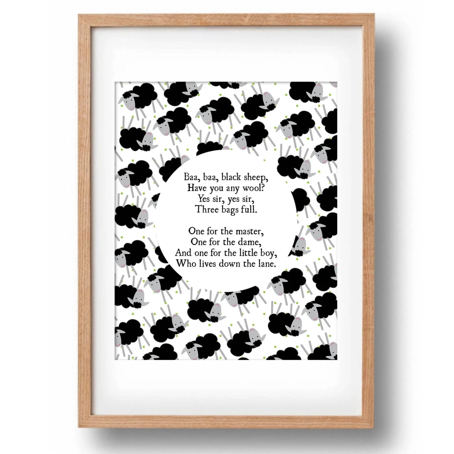 Baa Baa Black Sheep Nursery Rhyme Printable Wall Decor