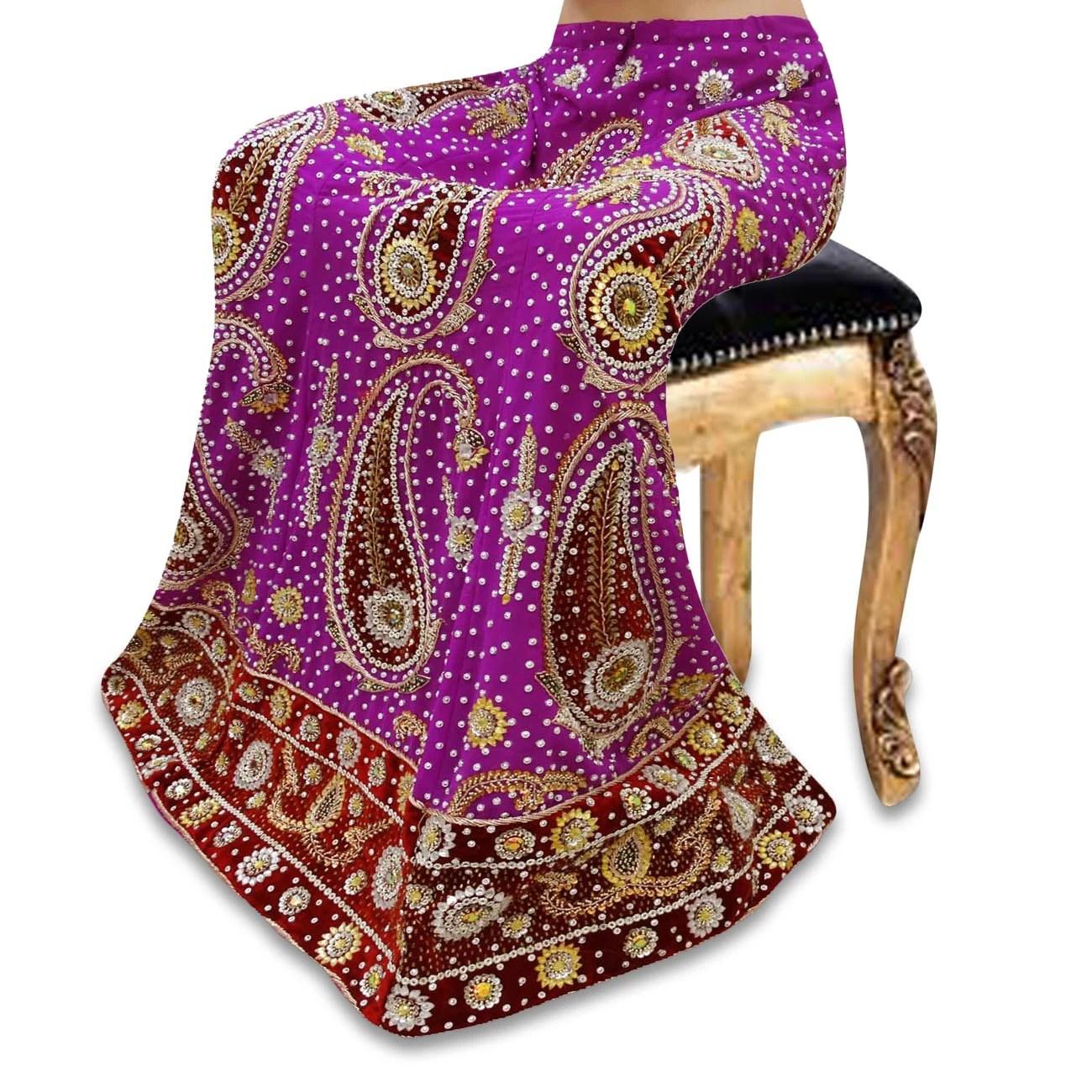 Indian Wedding Skirt Vintage Style New Bridal Purple