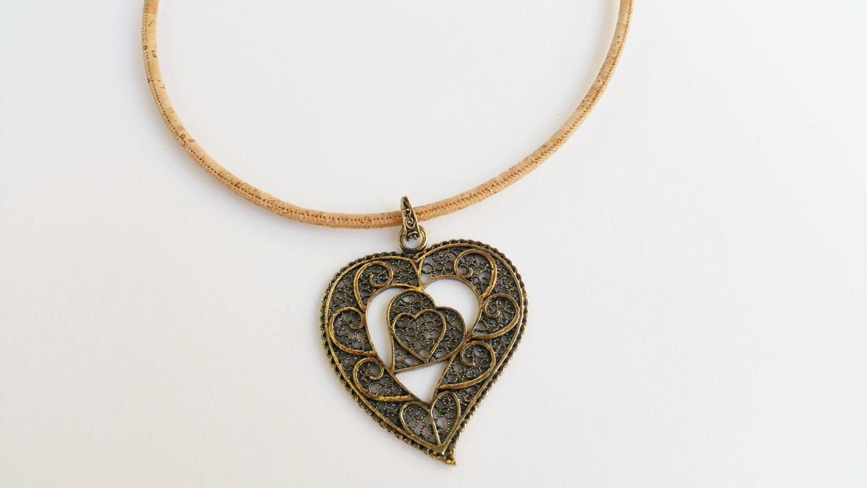 Portuguese Natural Cork Jewelry Big Heart Necklace