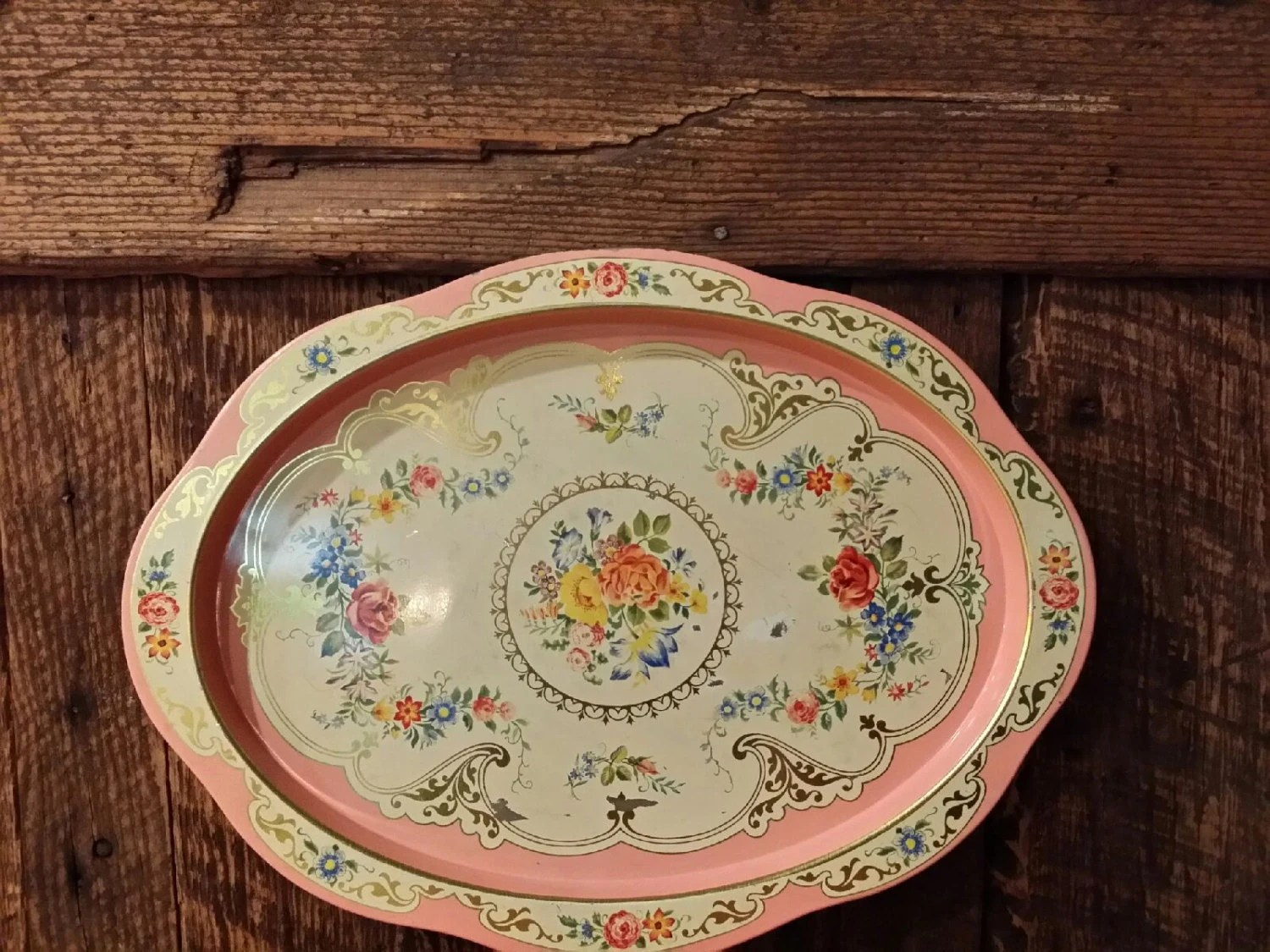Vintage 1960's Daher Tin Floral Oval Tray Made In Holland